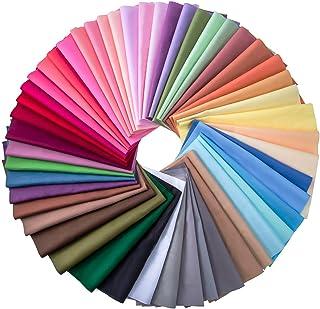 50 قطعه پارچه ای چند رنگ پارچه ای تکه ای مربع مخلوط پنبه بسته بندی خیاطی هنر لحاف ، 50 رنگ (10 10 10 سانتی متر)