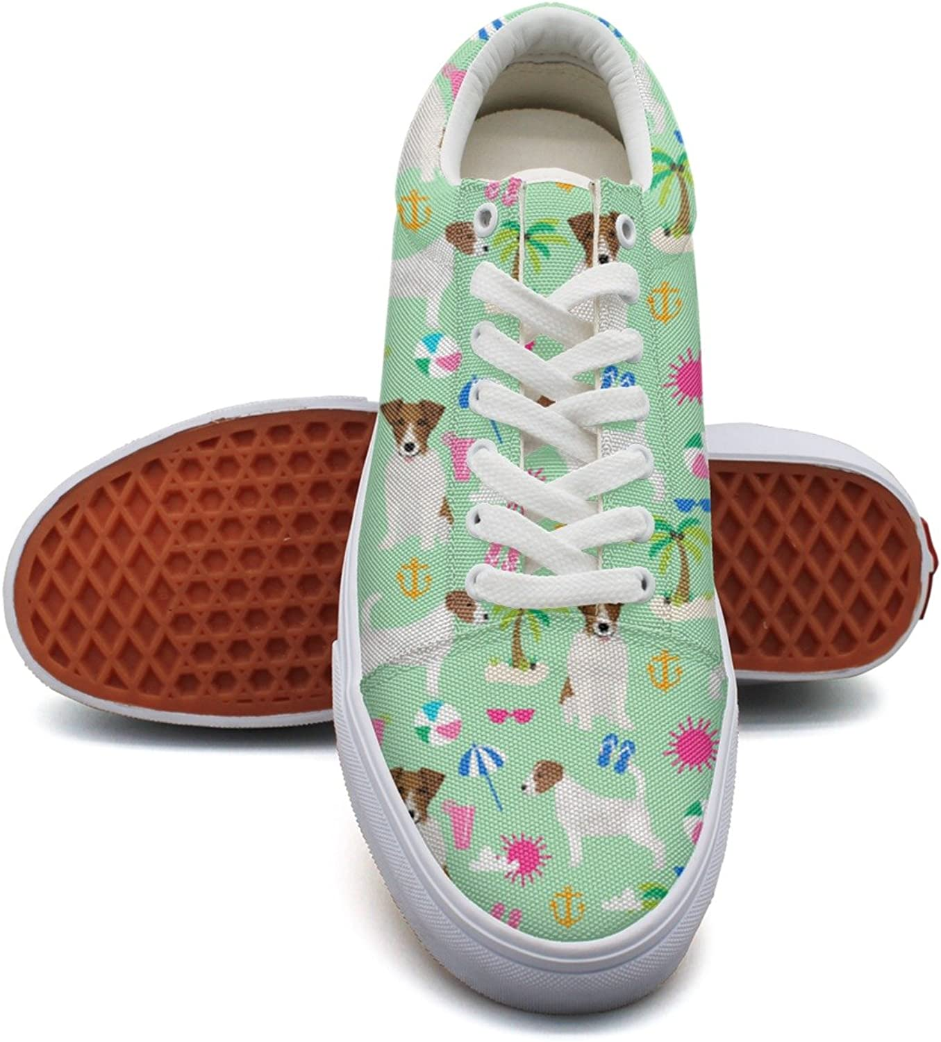 Feenfling Jack Russell Terrier Palm Tree Beach Dog Womens Printed Canvas Deck shoes Low Top Hip Hop Athletic Sneakers for Women Girls