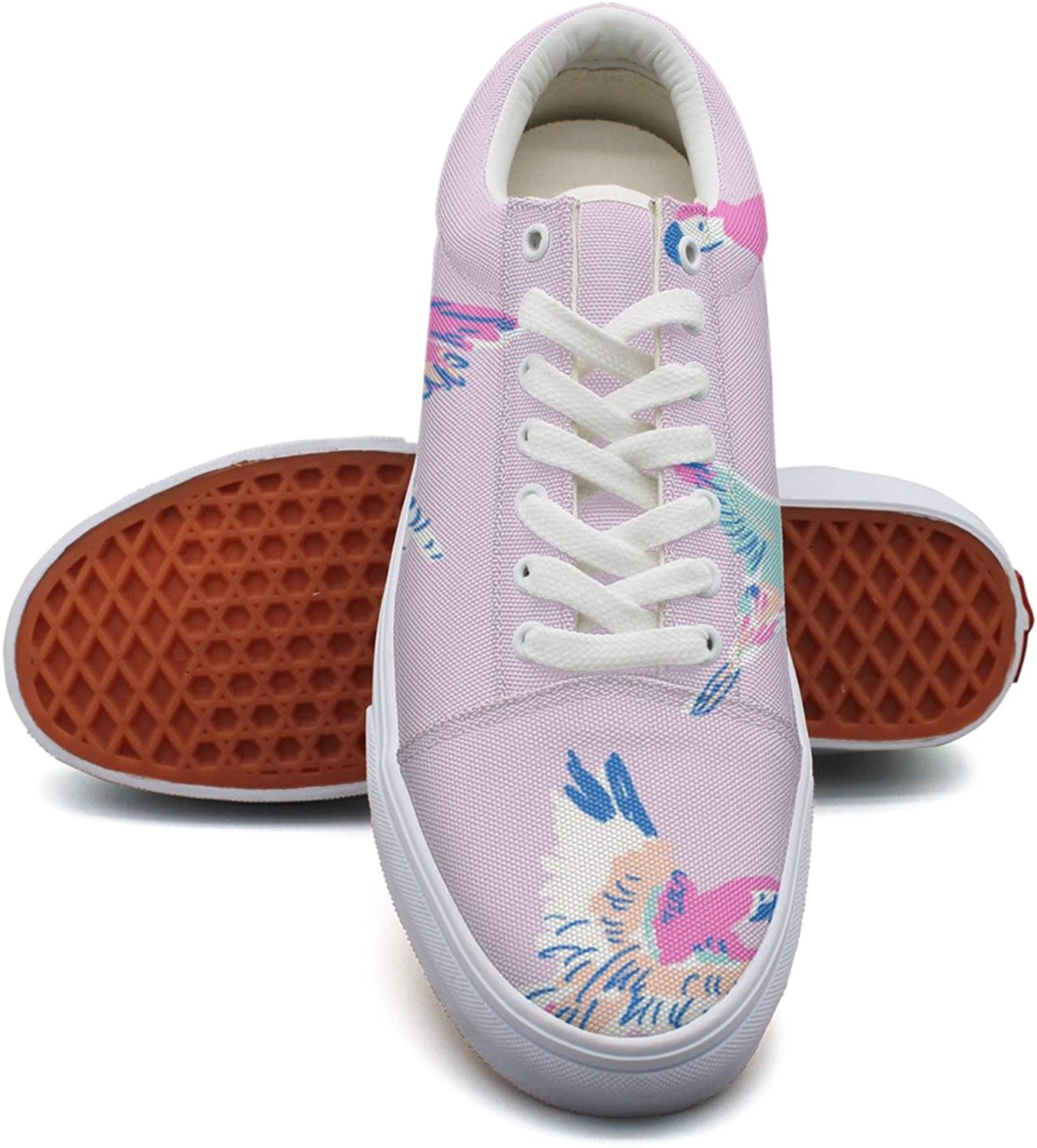 Feenfling Purple Parred Tropical Beach Birds Womens Light Canvas Running shoes Low Top Popular Athletic Sneakers for Women's