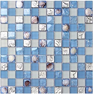 ZHANWEI 3D Wall Panels Wallpaper Crystal Glass Mosaic Background Wall Bathroom Swimming Pool Ceramic Tile, 2 Colors (Color : Blue, Size : 5 PCS)