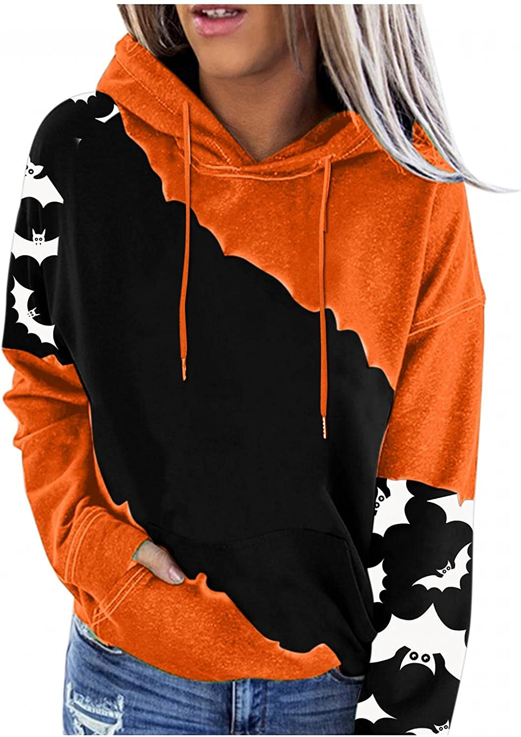 AODONG Halloween Shirts for Women, Womens Color Block Hoodies Casual Long Sleeve Pullover Tops with Pocket Fall Sweatshirt