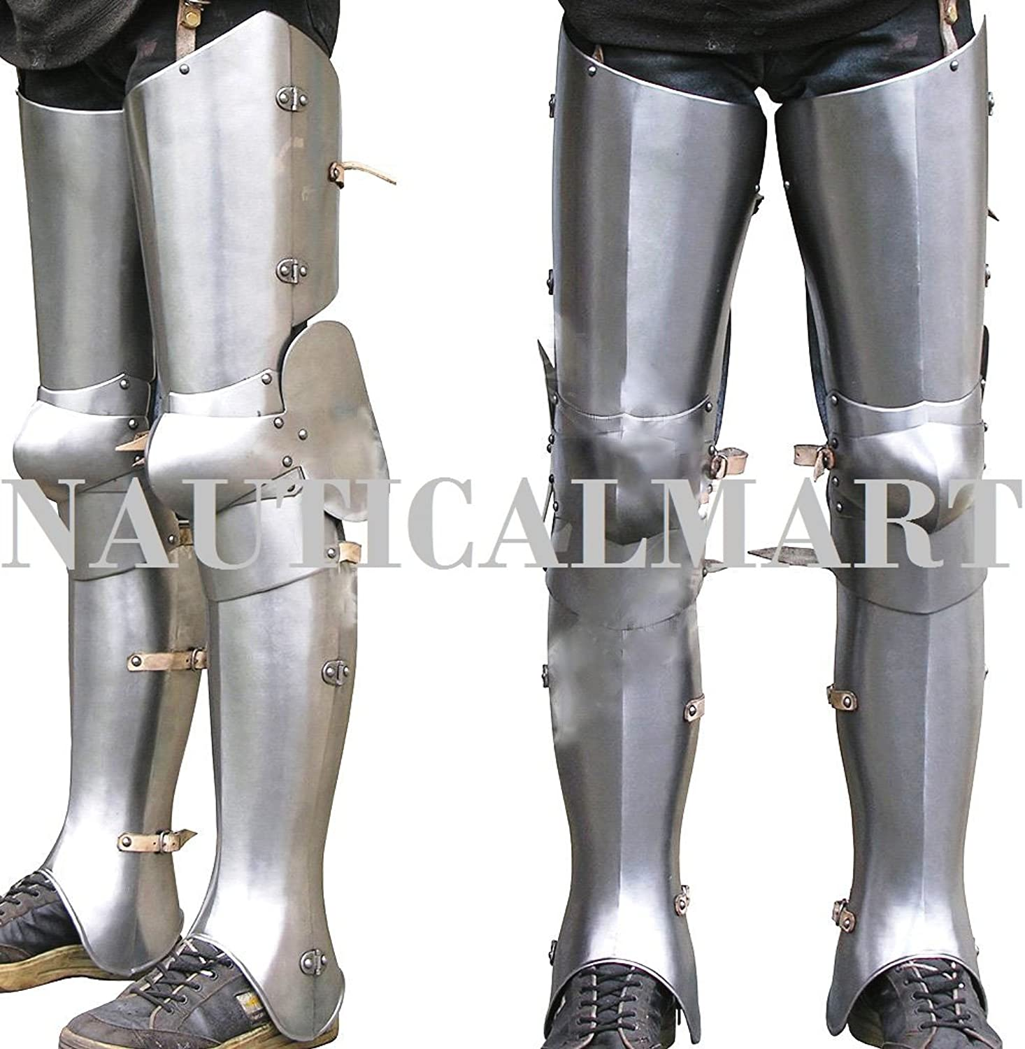 NAUTICALMART SCA LARP Complete Halloween Gothic Fluted Upper Leg Knees and Greaves Medieval Leg Guards
