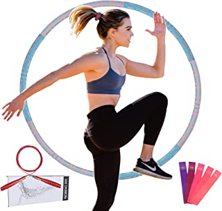 Nordic Fit Adjustable Weighted Dance & Fitness Professional Hula Hoop with Resistance Bands, Great for Burning Fat, Dancin...