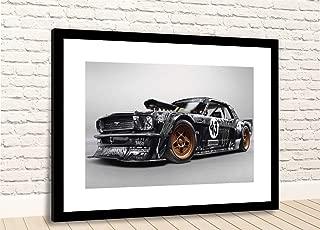 "Print Ken Block Hoonigan Ford Mustang Muscle CAR Framed Photo (40"" X 30"" Black Fr/Black Mt)"