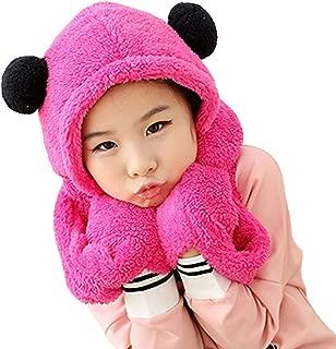 Children Warm Fleece Earflap Hat Winter Long Scarves Hooded Scarf Gloves Sets