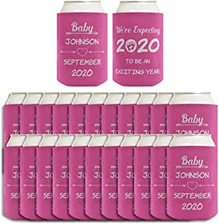 Personalized Girl Baby Shower Can Coolies Your Names & Date Girl Baby Shower Party Supplies Girl Baby Shower Décor 24 Pack Can Coolie Drink Coolers Coolies 2020 Pink