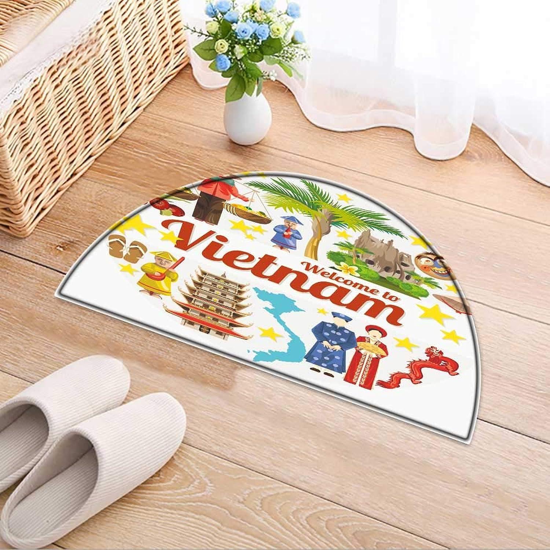 Semicircle Area Rug Carpet Vietnam Traditional Vietnamese Cultural Symbols Vietnamese Landmarks Door mat Indoors Bathroom Mats Non Slip W47 x H32 INCH