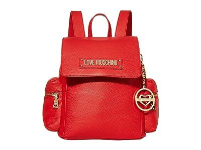 LOVE Moschino Love Logo Backpack (Red Natural Grain Calf) Backpack Bags