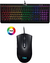 HyperX Alloy Core RGB - Gaming Keyboard - Quiet & Responsive - 5-Zoned RGB Backlit Keys and HyperX Pulsefire Core - RGB Gaming Mouse, Software Controlled RGB Light Effects & Macro Customization