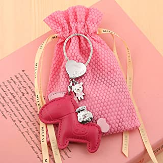 HLJ Pony Car Keychain Creative Key Chain Girl Cute Key Ring Creative Bag Key Pendant (Color : Red)