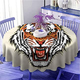Nappe ronde moderne en forme de tigre - Motif tête de chasseur - Prête à attaquer - Avec crocs tranchants - Orange et noir...