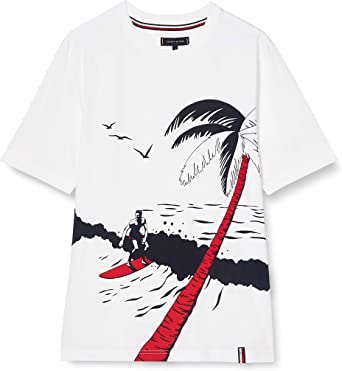 Tommy Hilfiger TH Cool Surf Print Relax Fit tee Camisa para Hombre