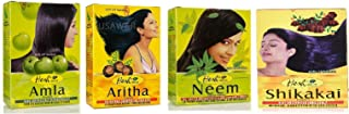 Hesh Herbal Amla Powder 100G, Neem Powder 100G, Shikakai Powder 100G, Aritha Powder 100G - 1 Complete Hair Care Combo Pack