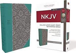 NKJV, Deluxe Reference Bible, Super Giant Print, Leathersoft, Green, Red Letter Edition, Comfort Print: Holy Bible, New King James Version