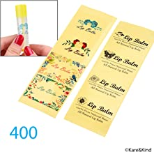 Kare & Kind Value Pack of 400 Labels - 8 Different Designs - for Lip Balm Containers, Nasal Inhaler Tubes, etc. - Self Adhesive, Easy Peel