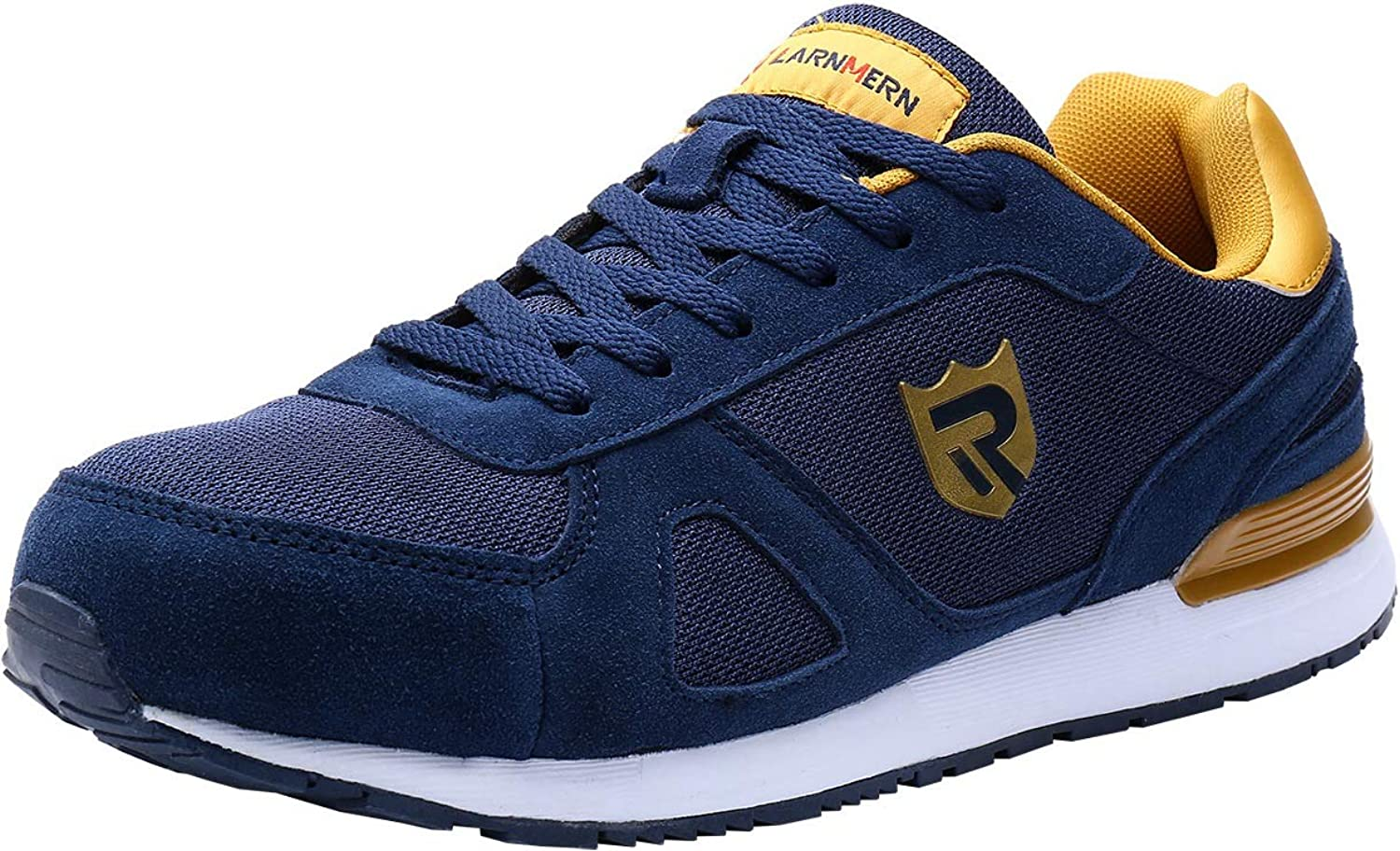 Steel Toe Safety shoes, LM-123 Mens Breathable and Light Weight Anti-Smashing Work Trainers (8 UK, Dark bluee)