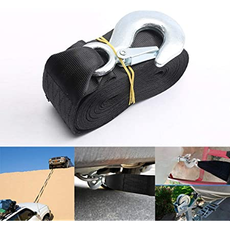 Black VZCY Trailer Marine Boat Winch Strap,2 x20 Winch Strap 10000 Lbs Max Towing Weight,Vehicle and Boat Dual Purpose