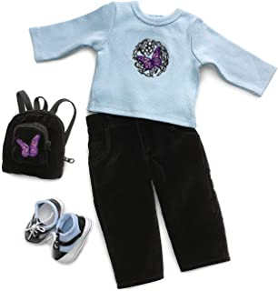 "Blue Butterfly School Outfit & Accessories - Fits 18"" Americ"