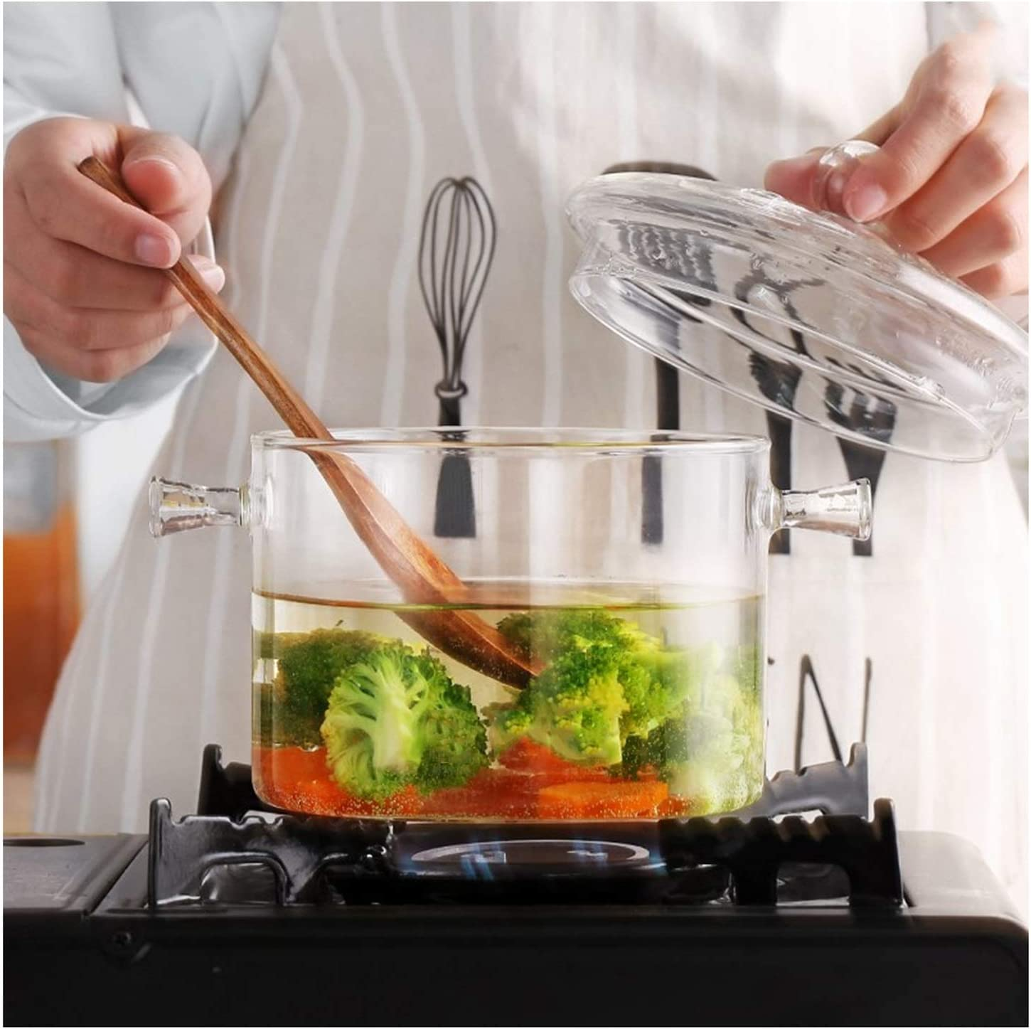 Max 60% OFF GEMIAO Glass Cooking Pot Binaural Soup Borosilicate sold out