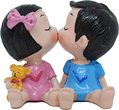 Saubhagya Global Brown Cute Couple Kissing | with Magnets On Lips | Love Showpiece for Home Decor and Occasional Gifting on Birthday Anniversary for Girls and Girlfriend