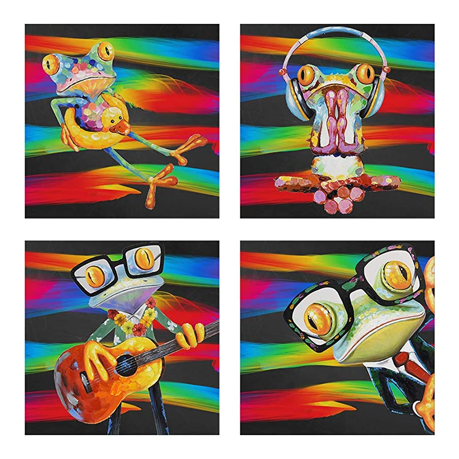 4 Pack DIY 5D Diamond Painting by Number Kit for Adults,Kids,Beginner,Full Drill Diamond Crystal Cross Embroidery Art Decoration Family Wall Bedroom Creative Gift,(11.8X11.8 inches) Frog Abstract Red