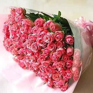 [ビズフラワー] 【花束 バラ 100本】 ピンク 薔薇 ローズ お祝い プロポーズ 誕生日 記念日 大切な日 告白 結婚 婚約 ブーケ プレゼント クリスマス BisesFlower