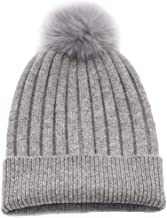 State Cashmere Real Fur Pom-Pom Hat 100% Pure Cashmere Cuffed Beanie•Ultimately Soft and Warm