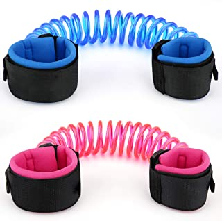 [2 Pack] Anti Lost Wrist Link, Zooawa Child Outdoor Safety Hook and Loop Wristband Leash for Kids and Toddlers, 1.5M Pink + 1.8M Blue