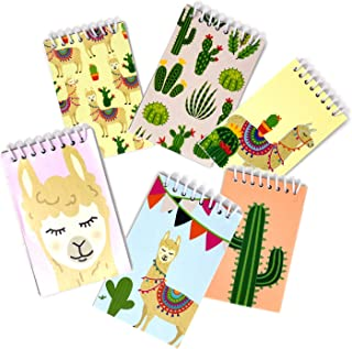 48 Count Llama Mini Notepads 6 Assorted Designs Notebook Kids Spiral Note Journal Small Set Party Toys Bulk Llama Pocket Favor Pads Memo Cover Design Llama Office Paper Party Supplies - Gift Boutique