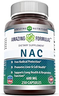 Amazing Formulas NAC (N-Acetyl Cysteine) - 600mg 250 Capsules- Antioxidant Support- Promotes Heart, Kidney, Liver & Respir...
