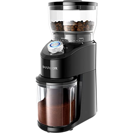 SHARDOR Conical Burr Coffee Grinder, Electric Adjustable Burr Mill with 14 Precise Grind Setting for 2-12 Cup, Black