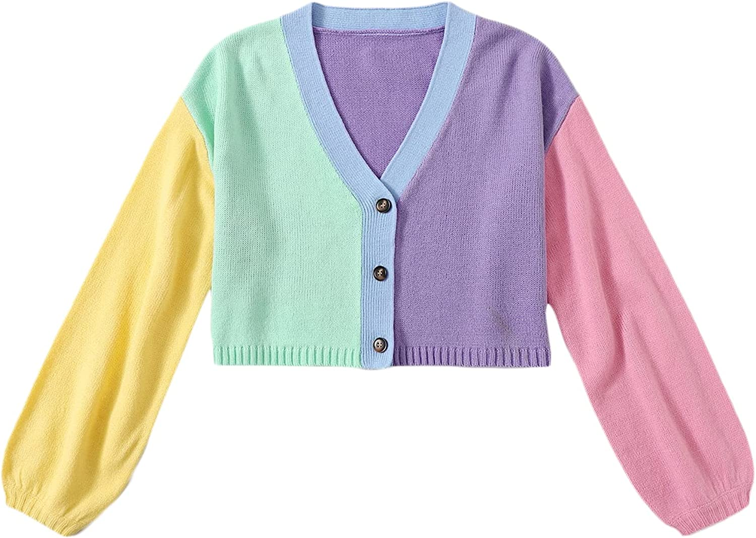 MakeMeChic Women's Colorblock V Neck Button Front Long Sleeve Cardigan Sweater Crop Top