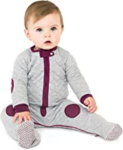 baby deedee Sleepsie Cotton Quilted Footie Pajama, Heather Gray/Mauve, 6-12 Months