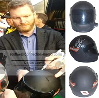 Dale Earnhardt Jr. Autographed Hand Signed Budweiser 1:3 Scale Riddell Nascar Racing Mini Helmet with Exact Proof Photo of Signing and COA, Monster Energy Cup Series