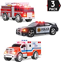 Liberty Imports 3-in-1 True Hero Vehicles Kids Toy Cars PlaySet - 3-Button LED Light and Sound Effects (Emergency Vehicles)