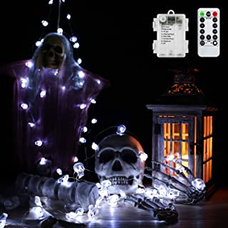 Brizled Halloween Skull String Lights, 40 LED Halloween String Lights Battery Powered, 13.85ft 8 Modes Halloween Lights with Remote & Timer for Outdoor Indoor Halloween Party Decorations, Cool White