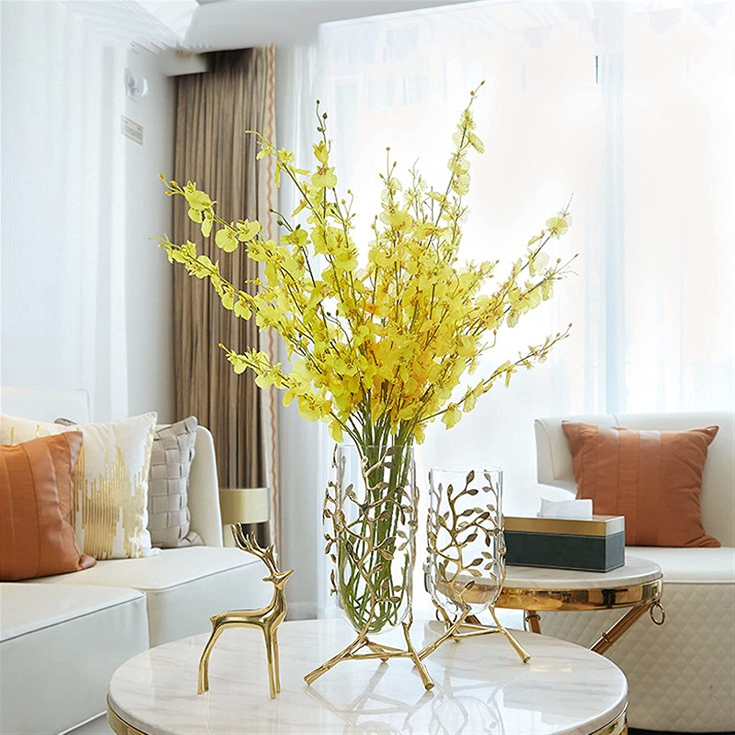 Simulation Of Dried depot Flowers And With Max 45% OFF Gla Decorations Brass Vase