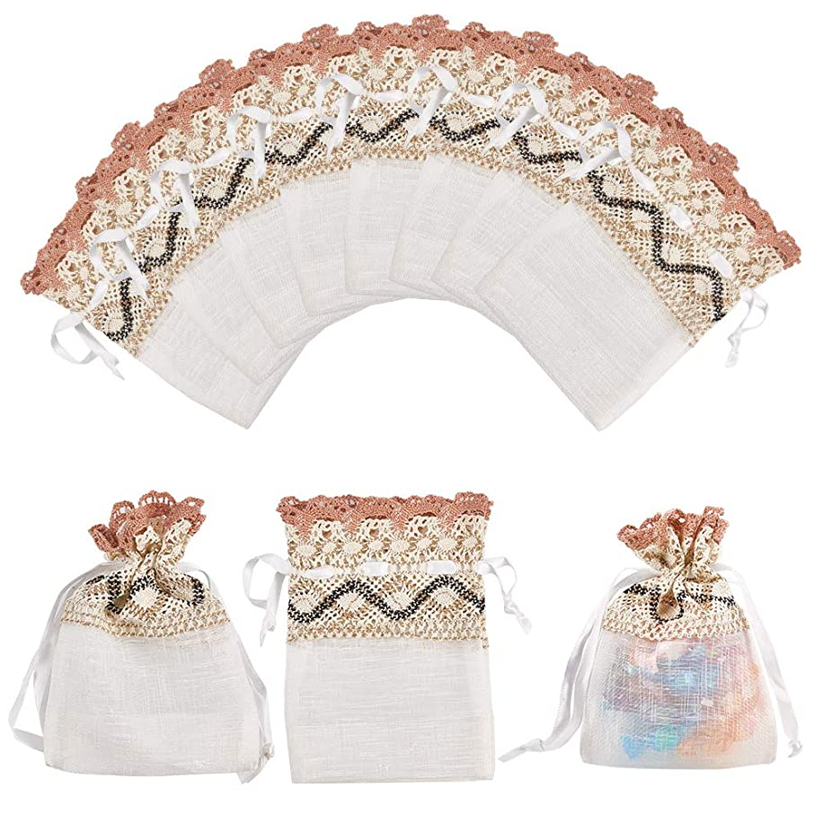 PH PandaHall 12PCS 3.5x5.5 Lace Organza Gift Bags with Drawstring Wedding Party Favor Jewelry Gift Bags Pouches (Ivory)