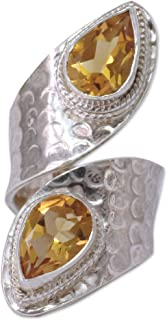 NOVICA Citrine Hammered .925 Sterling Silver Wrap Ring 'Golden'