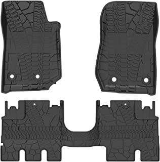 oEdRo Floor Mats Liners Compatible for 2014-2018 Jeep Wrangler JK Unlimited 4 Door (Not for JL),TPE All Weather Protection, Includes Front and Rear Floor Liners