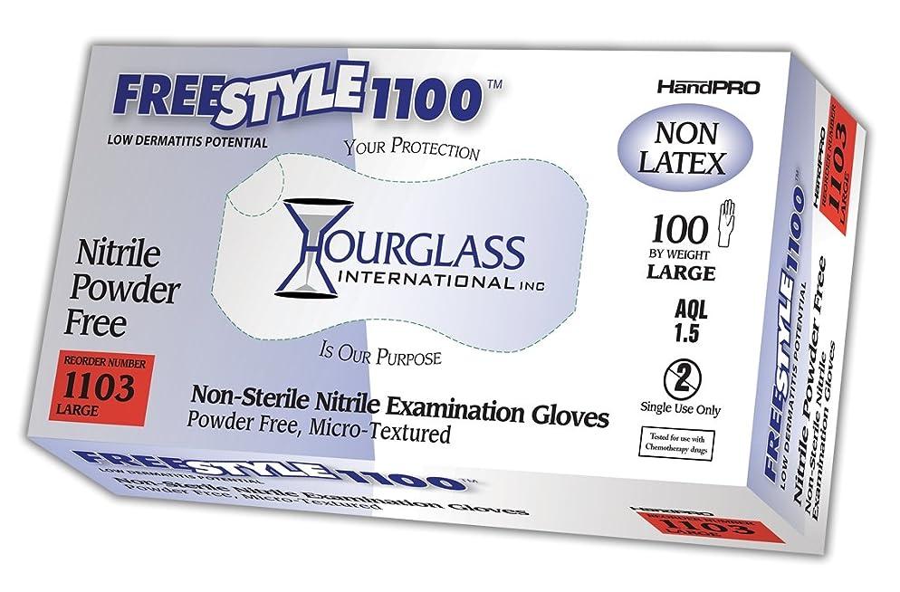 十年リスク遷移砂時計HANDPRO freestyle1100ニトリル手袋、試験、パウダーフリー、240?mm長、0.06?MM厚、Large (ボックスof 100?) L 1103-BX 100