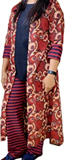 Silver Moon Three Piece Women's Cotton Kurti With Elastic Pants And Jacket