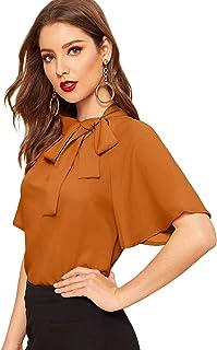 SheIn Women's Vintage Side Tie Neck Ruffle Short Sleeve Blouse Shirt Top