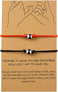 BOCHOI Distance Matching Pinky Promise Bracelets for 2 Mother Daughter Best Friend Couples Friendship Adjustable Cord Relationship Bracelets Him and Her Girlfriend Boyfriend