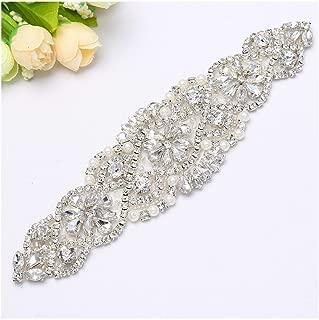 Crystal Applique Trim Silver Diamond Applique Bridal Elegant Applique Rhinestone for Wedding Headband