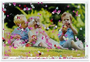 BestPysanky Hearts Glitter Water Globe Style Picture Frame