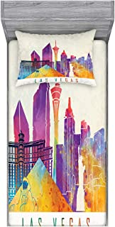 Ambesonne Las Vegas Fitted Sheet & Pillow Sham Set, Colorful Landmarks in Las Vegas Pyramid and of Liberty in Watercolors, Decorative and Printed 2 Piece Bedding Set, Twinxl, Multicolor