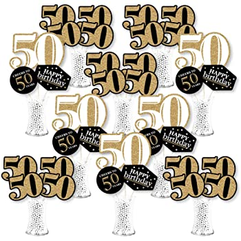50th Birthday Party Decoration Set kortes 24Pack 50th Birthday Party Centerpiece Stickers Real Glitter Birthday Table Toppers Party Photo Booth Props