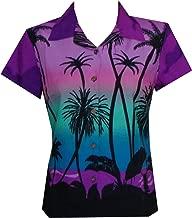 Hawaiian Shirt Women Coconut Tree Print Aloha Beach Top Blouse Casual