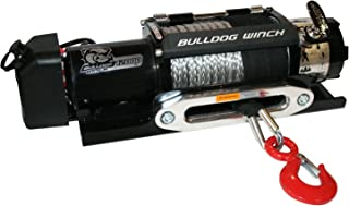 Bulldog Winch 15018 Winch 3400lb Trailer//Utility with 50 Ft. Synthetic Rope, CNC Billet Aluminum Hawse Fairlead, Mounting Plate, Low Profile